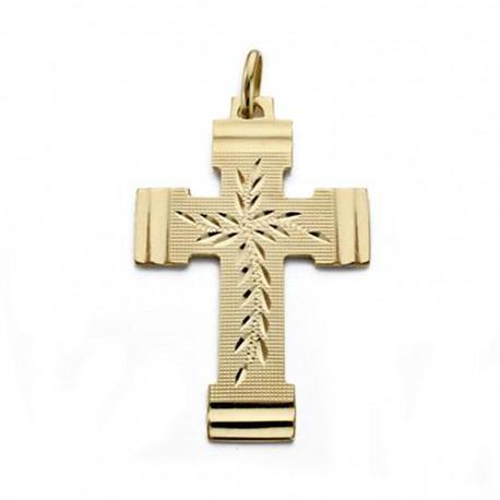 Colgante cruz oro 18k tallada 36mm. [AA0011]