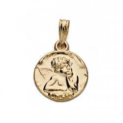 Medalla oro 18k angelito 14mm. [AA0027]