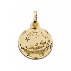 Medalla oro 18k niño del pesebre 14mm. [AA0029]