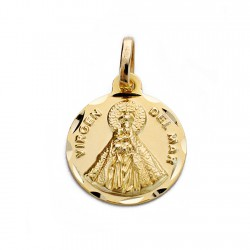 Medalla oro 18k Virgen del Mar 14mm. [AA0030]