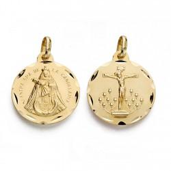 Medalla oro 18k Cristo Laguna Virgen Candelaria 18mm. [AA0031]