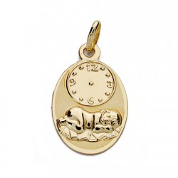 Medalla oro 18k niño hora 19mm. oval