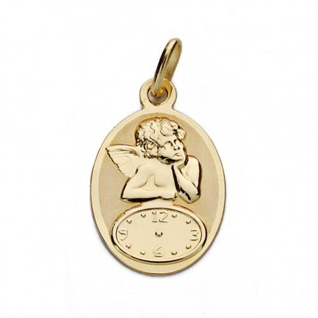 Medalla oro 18k ángel reloj 19mm. [AA0061]