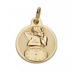 Medalla oro 18k ángel reloj 15mm. [AA0062]