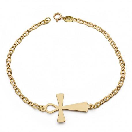 Pulsera oro 18k cruz de la vida 19cm. [AA0064]