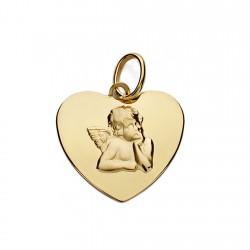 Medalla oro 18k corazón 14mm. angelito burlón brillo