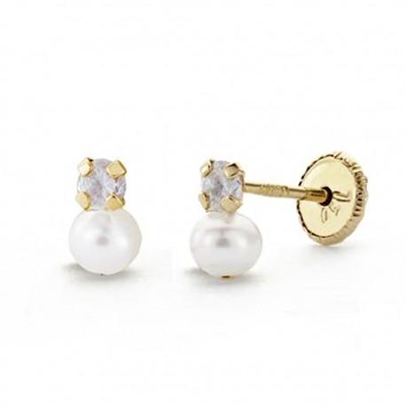 Pendientes oro 18k perla 5mm. circonita 3mm. [AA0078]