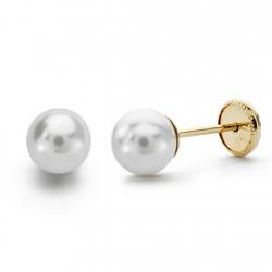Pendientes oro 18k perla 5mm. [AA0082]