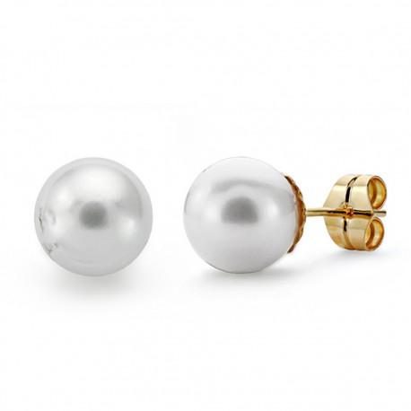Pendientes oro 18k perla australiana 10mmm. [AA0088]