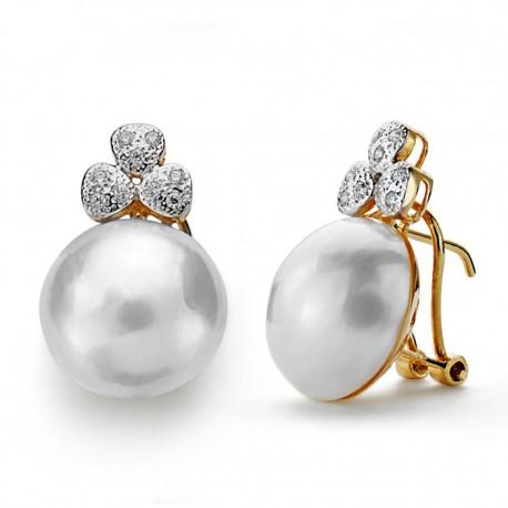 Pendientes oro 18k perla japonesa 14mm. [AA0090]