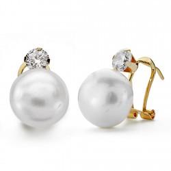 Pendientes oro 18k perla botón 12mm. garra circón [AA0092]