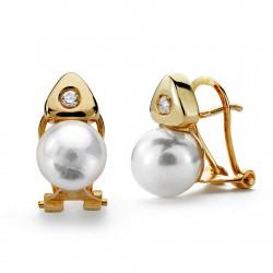 Pendientes oro 18k perla cultivada 7mm. circonita [AA0095]