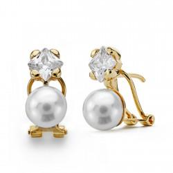 Pendientes oro 18k perla cultivada 8mm. [AA0096]