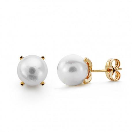 Pendientes oro 18k perla cultivada 7.5mm. [AA0099]