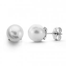 Pendientes oro blanco 18k perla cultivada 8mm. [AA0101]