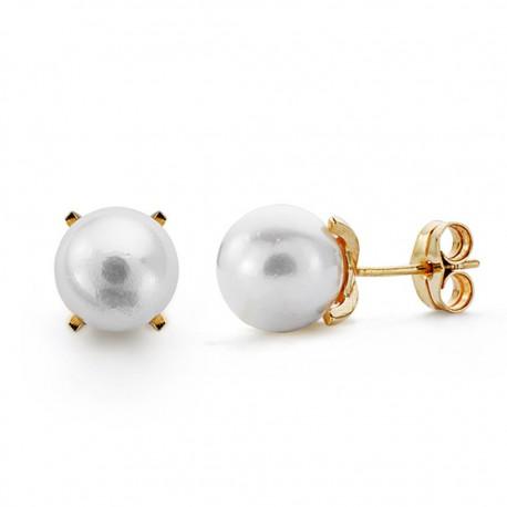 Pendientes oro 18k perla cultivada 8.5mm. [AA0102]