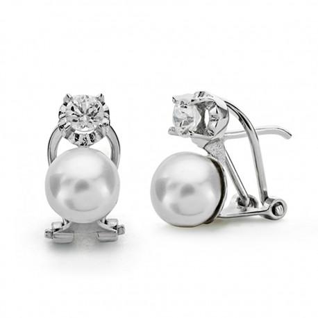 Pendientes oro blanco 18k perla cultivada 7mm. [AA0103]