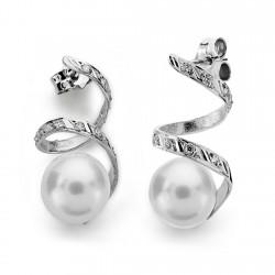 Pendientes oro blanco 18k perla cultivada 10mm. largos [AA0109]