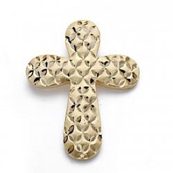 Colgante cruz oro 18k tallada 39mm. redondeado mujer