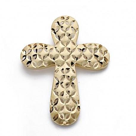 Colgante cruz oro 18k tallada grande 39mm. [AA0125]