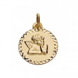 Medalla oro 18k ángel 16mm. [AA0127]
