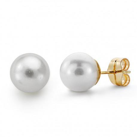Pendientes oro 18k perla cultivada 9mm. [AA0145]