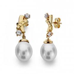 Pendientes oro 18k perla 7mm. largos [AA0149]