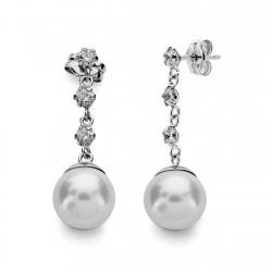 Pendientes oro blanco 18k perla cultivada 8mm. largos [AA0150]