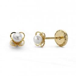 Pendientes oro 18k perlas flor calada 4mm. [AA0155]