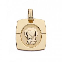 Medalla oro 18k Virgen Nina 20mm. [AA0161]