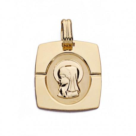 Medalla oro 18k Virgen Niña 20mm. [AA0161]