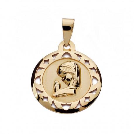 Medalla oro 18k Virgen Niña calada 18mm. [AA0163]