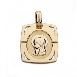 Medalla oro 18k colgante Virgen Niña 20mm. forma rectangular esquinas caladas