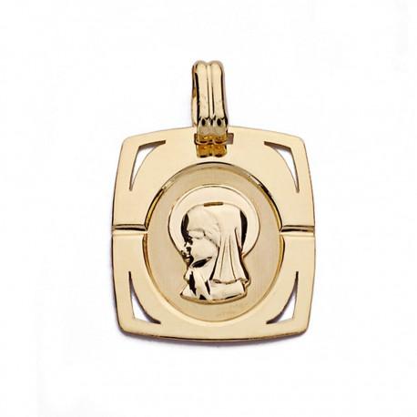 Medalla oro 18k Virgen Niña 20mm. [AA0164]