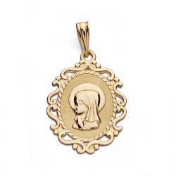 Medalla oro 18k Virgen Niña 23mm. oval centro mate borde formas caladas
