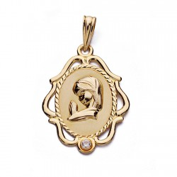 Medalla oro 18k Virgen Niña 24mm. oval centro mate borde formas caladas circonita