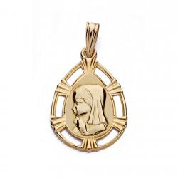 Medalla oro 18k colgante 23mm. Virgen Niña lágrima borde detalle líneas calado