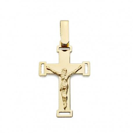 Colgante cruz oro 18k Cristo calada 22mm. [AA0175]