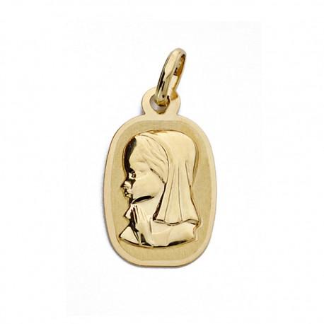 Medalla oro 18k Virgen Niña láser 17mm. [AA0180]