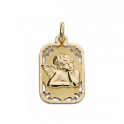 Medalla oro 18k angelito burlón 19mm. rectangular filo detalles calados