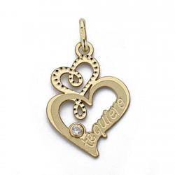 Colgante corazones oro 18k te quiero circonita [AA0182]