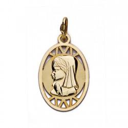 Medalla oro 18k colgante Virgen Niña oval 20mm. calada líneas