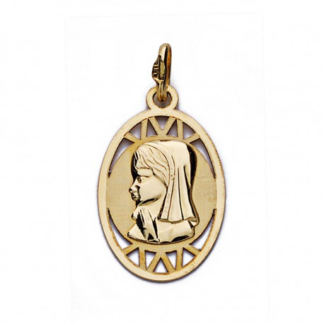 Medalla oro 18k Virgen Niña oval calada 20mm. [AA0183]