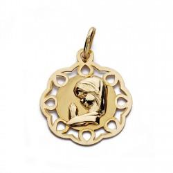 Medalla oro 18k Virgen Niña calada 19mm. [AA0184]