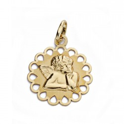 Medalla oro 18k angelito burlón cerco calado 18mm. [AA0185]