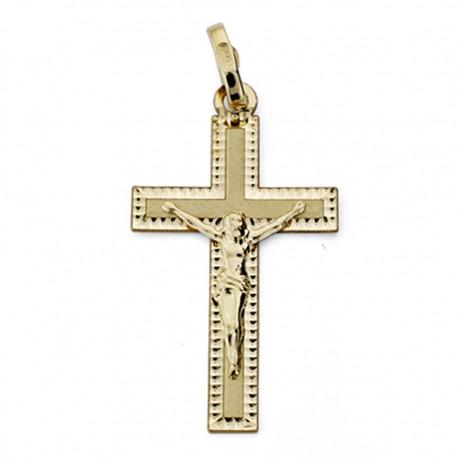 Colgante cruz oro 18k Cristo tallada 27mm. [AA0186]