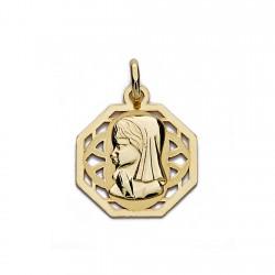 Medalla oro 18k colgante Virgen Niña 17mm. forma octogonal cerco centro calado