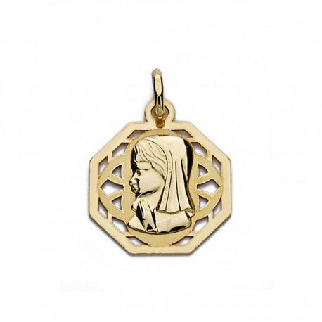 Medalla oro 18k Virgen Niña cerco calado 17mm. [AA0187]