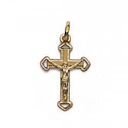 Colgante cruz oro 18k Cristo 23mm. crucifijo borde tallado extremo calado mujer