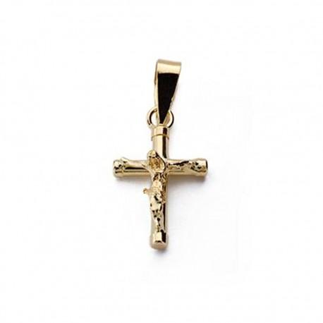 Colgante cruz oro 18k Cristo hueca 15mm. [AA0191]